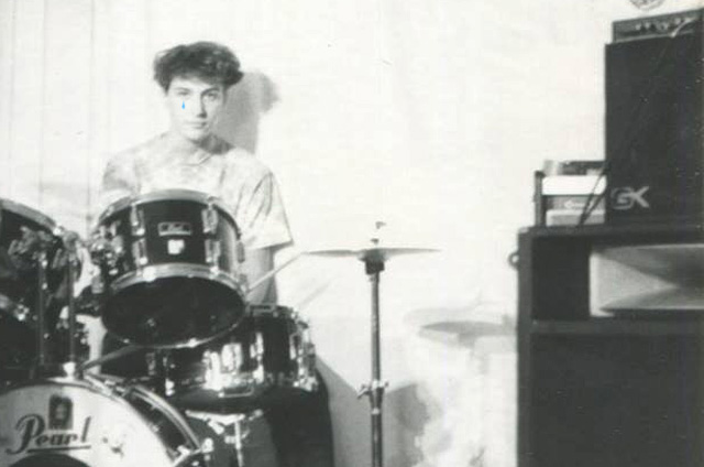 Chris Wassell behind the kit